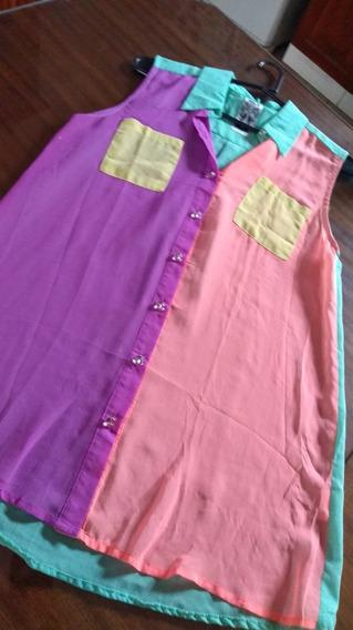 Camisa En Crep Tricolor T Medium