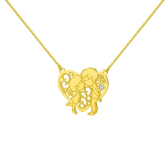 Gargantilha De Ouro 18k Casal Com Diamante Ga03272