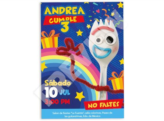 Invitacion Dig Para Fiesta Toy Story 4 Personalizada Forky