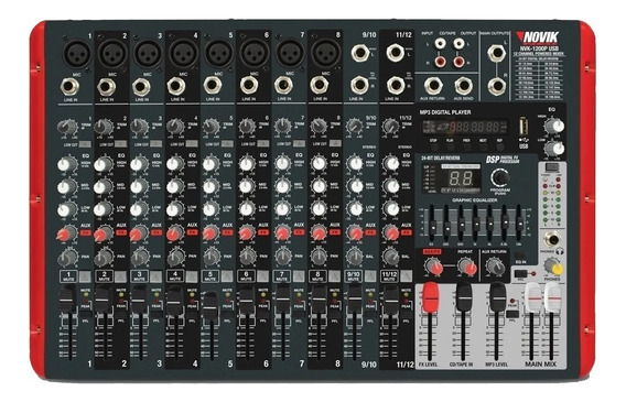 Mesa De Som Amplificada 12 Canais Nvk1200p Novik Bluetooth