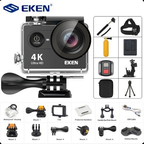 Camera Ação Eken H9r 25fps 4k Wi-fi C/controle 32gb - Preta