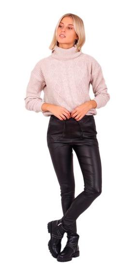 Pantalon Engomado Mujer Negro Elastizado Tiro Alto Chupin