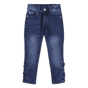 Calça Jeans Used Com Bigode 3d E Ilhos Menina 920627