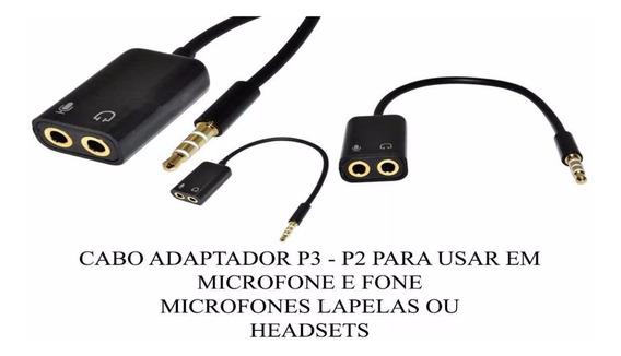 Cabo Adaptador P3 X P2 Fone Microfone Lapela No Celular A91