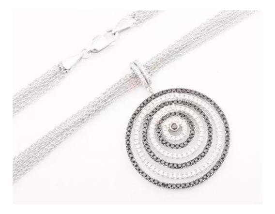 Corrente Feminina Ouro Branco 18k Pingente Mandala Com 243 Brilhantes 40cm + Porta Joias 1431