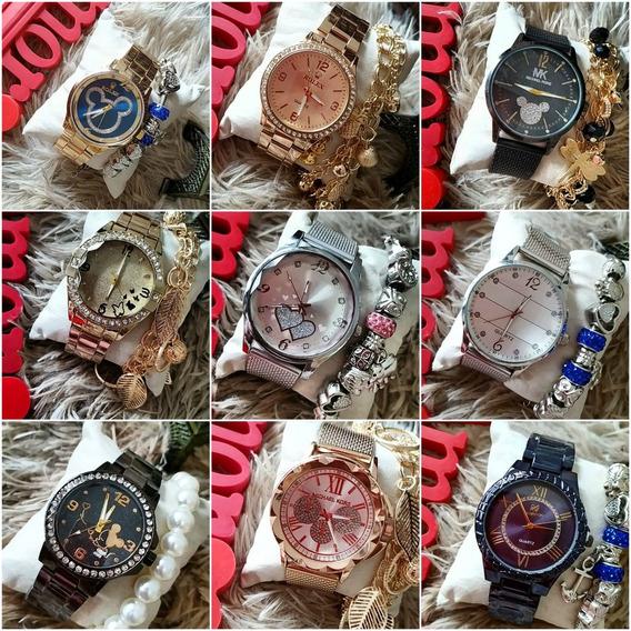 Relógios Femininos C/10 Caixas Pulseiras Oferta Relâmpago