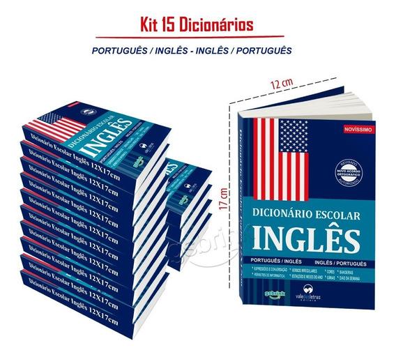 15 Dicionários Inglês Escolar 12x17cm Atualizados
