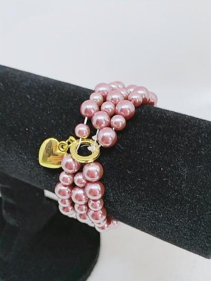 Bracelete De Pérola Lilas, + Berloque -semi Joias
