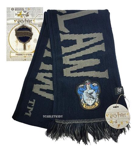 Imagen 1 de 6 de Bufanda Harry Potter Ravenclaw + Pin Licencia Original