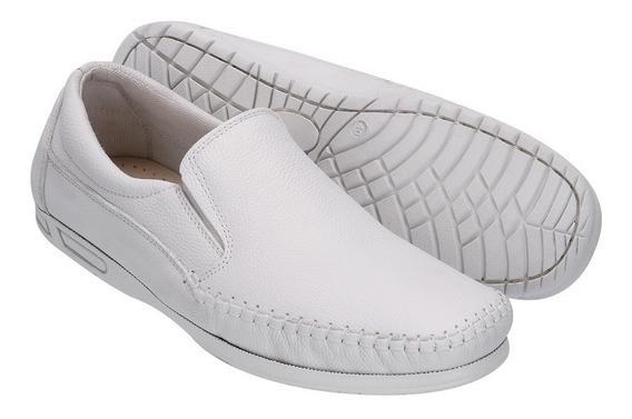 Sapato Masculino Mocassim Confort Bico Quadrado Off White Lk