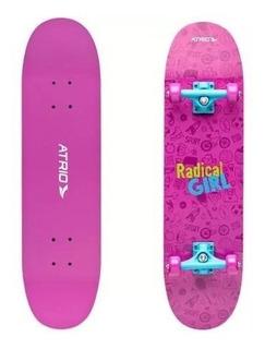 Skate Feminino Rosa Radical Girl Atrio Com Kit Proteçao