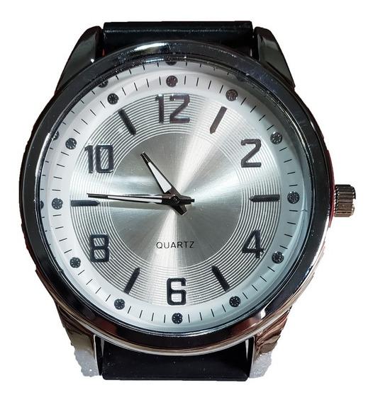 Relógio Masculino Preto/prateado Pulseira Silicone + Caixa