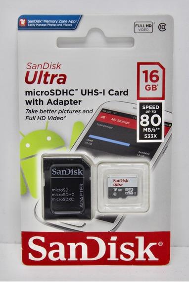 Cartão Micro Sdhc 16gb Ultra Sd Sandisk Classe 10 Original