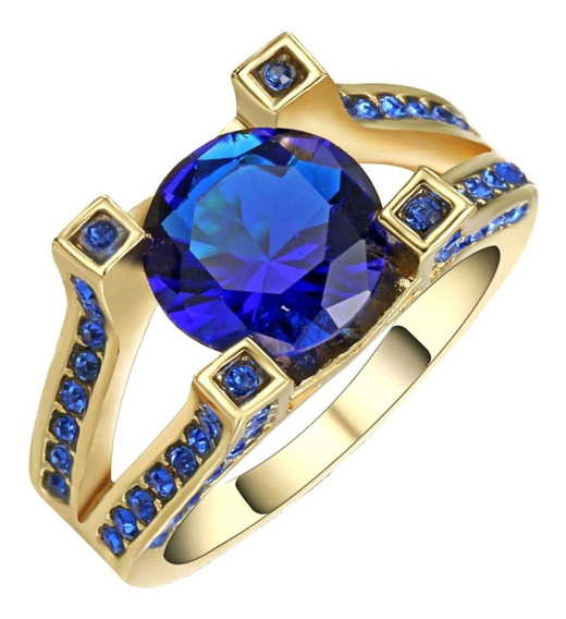 Anel Feminino Formatura Para Curso Pedra Azul Safira 461