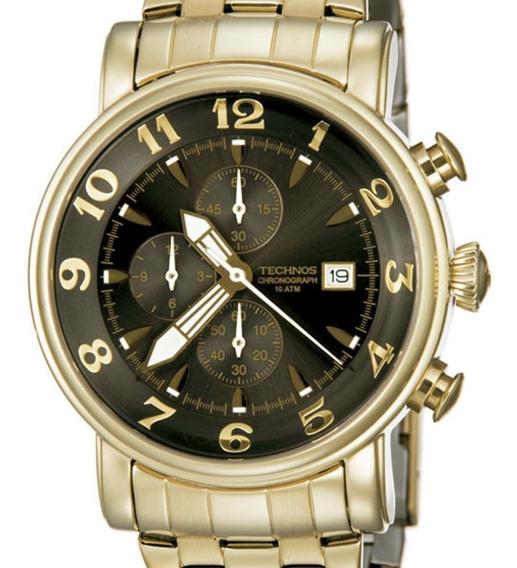 Relógio Technos Dourado Masculino Cronógrafo Os10cr/4d + Nfe