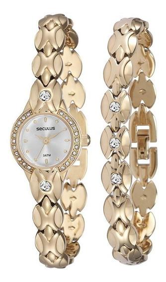 Relógio Seculus Feminino Dourado Garantia 2 Anos + Pulseira