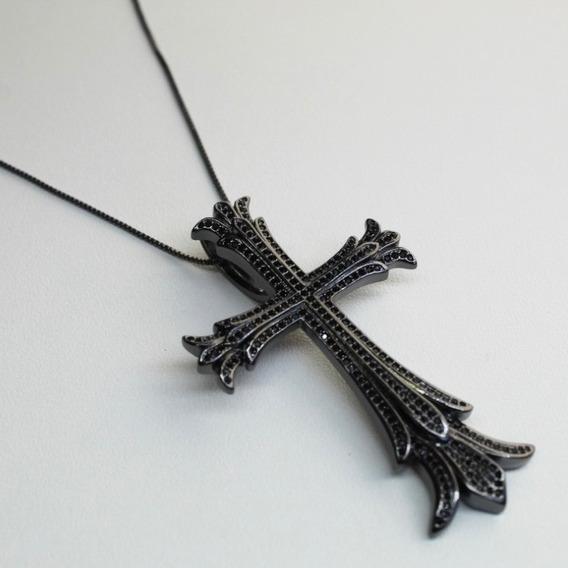 Colar Crucifixo Ródio Negro Cravejado Zirc. Ngras/ M.cartier