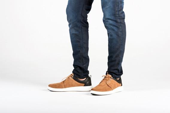 Zapatillas Urbana De Vestir En Tela Mas Cuero. Color Marron