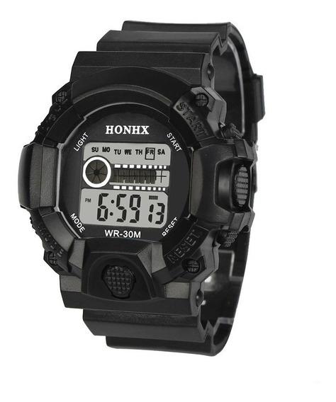Relógio Masculino Militar Silicone Digital Led Top De Linha