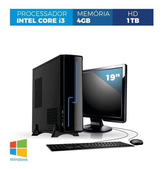 Computador Corporate Slim I3 4gb 1tb Windows Kit Monitor 19