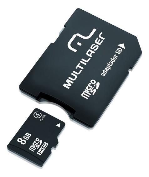 Cartão De Memória Micro Sd 8gb + Adaptador Sd Multilaser - M