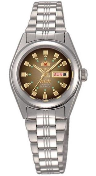 Reloj Orient Automático Plateado Original De Dama Fnq1x003x9 Dial Degradado