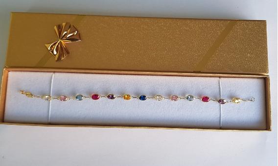Pulseira Feminina Ouro 18k 13 Pedras Ovais Gd Presente 07247
