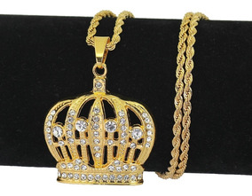 Colar Coroa Majestade Princesa Folheado A Ouro Frete Grátis