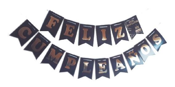 Banderín Feliz Cumpleaños Color Negro X 2.40 Mts - Cc