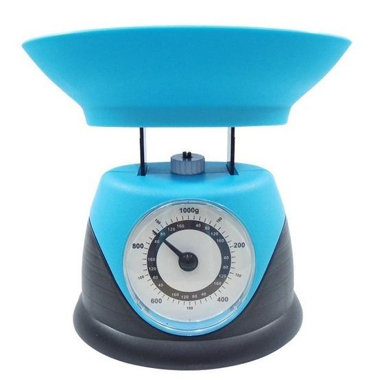 Bascula De Cocina 1 Kg Mecanica Mini Azul Negro Lobo