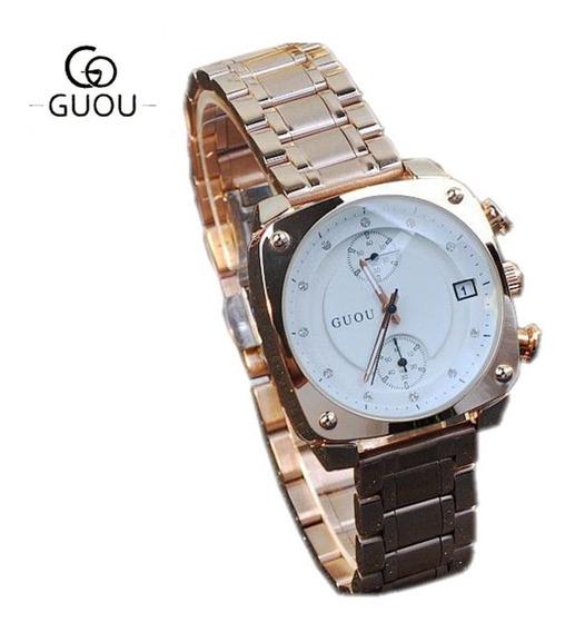 Relógio Feminino Guou 8108 Gold Aço Inox À Prova D