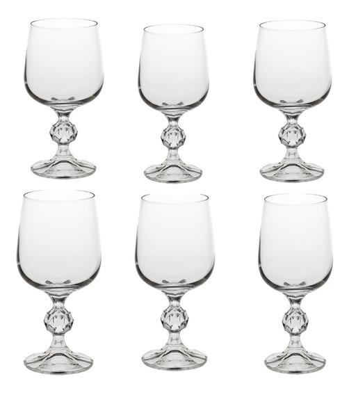 Jogo Com 6 Taças Para Vinho Tinto 230 Ml Cristal Klaudie Sterna Bohemia Gatro