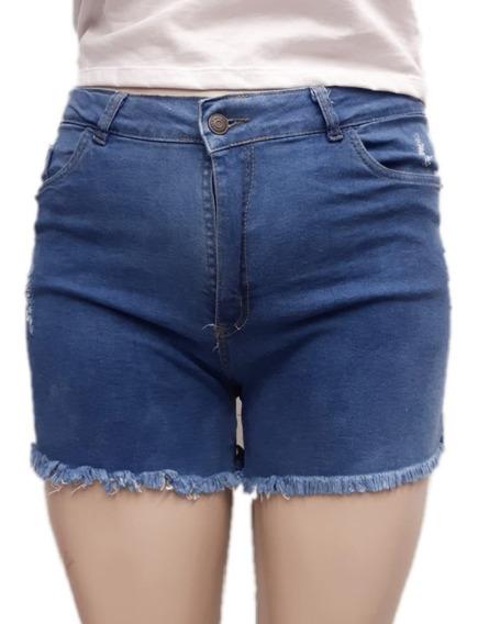 Short Jean Mujer Tiro Alto También Talles Grandes Hasta 54 -
