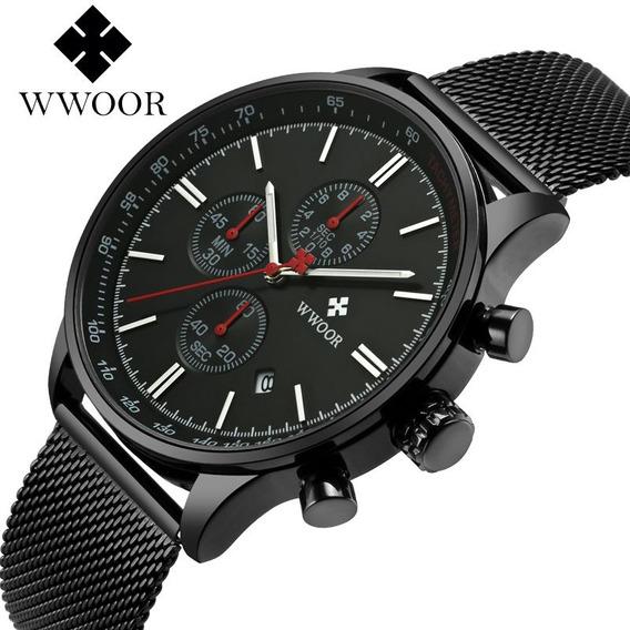 Wwoor Relógio Analógico Masculino Redondo Original Esporte