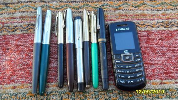 Lote De 8 Plumas, 2 Parker Arg., Y Otras 6, Usadas.