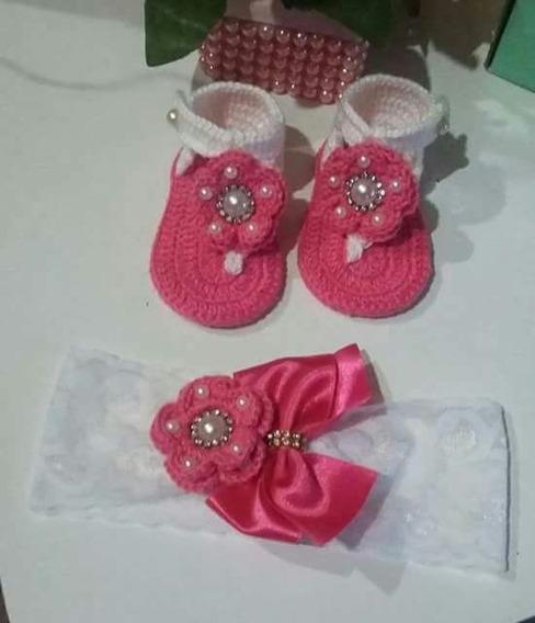 Sapatinho Batizado Menina Bebe Recém Nascido Crochê Tiara