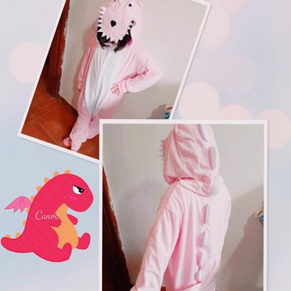 Pijama Macacão Kigurumi Dinossauro Rosa Adulto