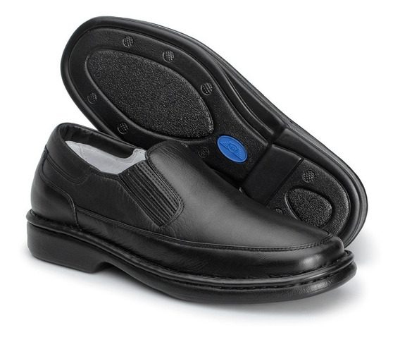 Sapato Em Couro Legítimo Antistress-linha Conforto-masculino
