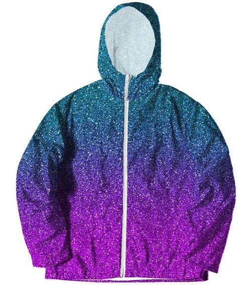 Jaqueta Corta Vento Glitter Galaxia Galaxy Brilhante 3d