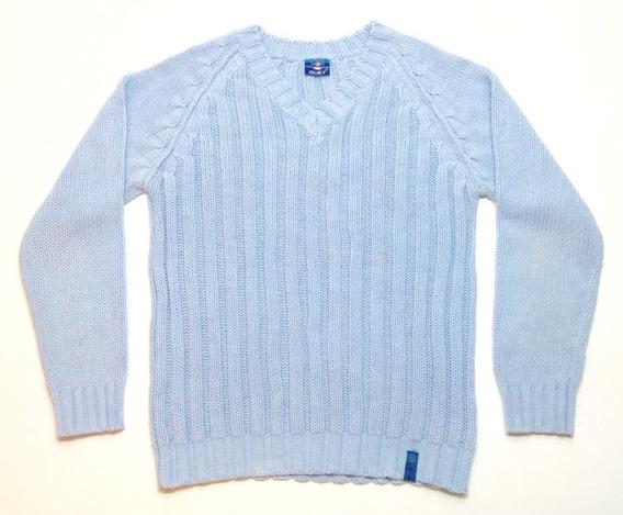 Sweater Buzo Duet Lana Celeste Hombre Escote En V Talle M