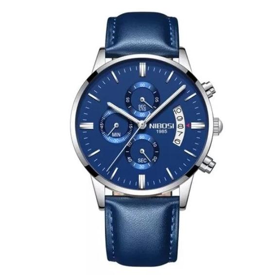 Relógio Masculino Nibosi Couro Azul Original + Caixa