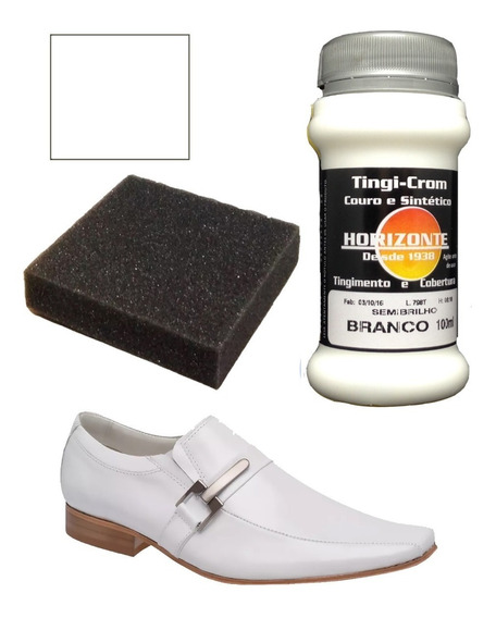 Tinta Couro Branco Semi Brilho Restaura Sapato Bota 100ml