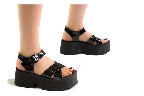 Zapatos Mujer Plataforma Sandalias Charol Negro