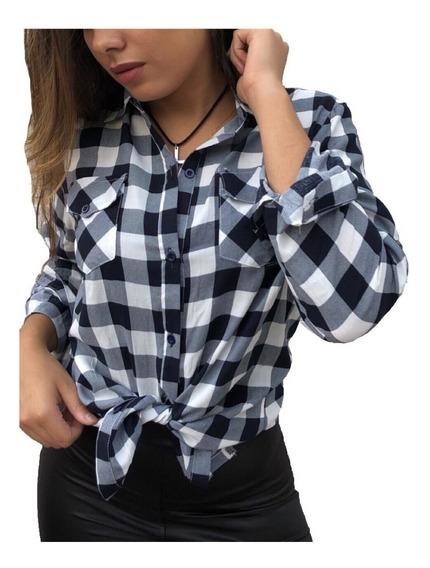 Camisa Xadrez Blusa Fem Viscose Qualidade Pronta Entrega