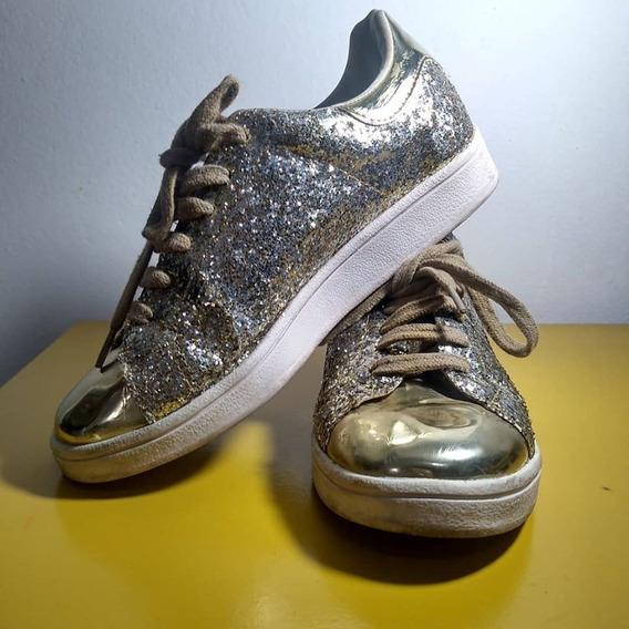 Tênis De Glitter Dourado Taquilla Usado Cano Baixo Brilho