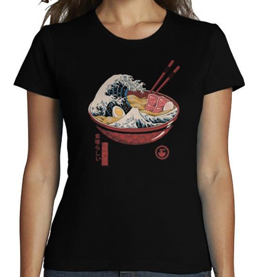 Playera Camiseta Unisex La Gran Ola Ramen Great Ramen Wave