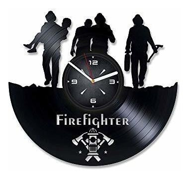 Imagen 1 de 4 de Bomberos Fuego Departamento De Vinilo Reloj De Pared. Decora