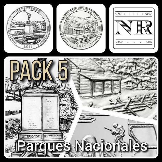 5 Monedas Cuartos Dolar Parques Nacionales - Eeuu Quarters