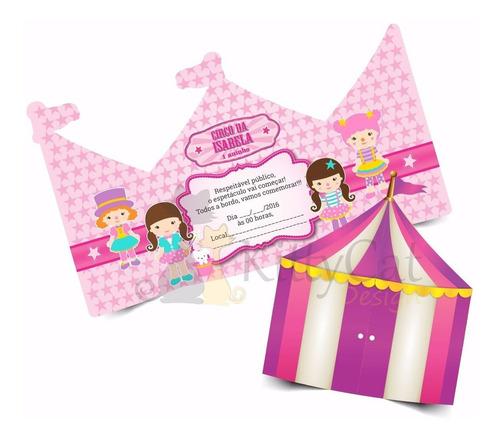 Imagem 1 de 2 de 50 Convites Circo Rosa Infantil (15x13cm)