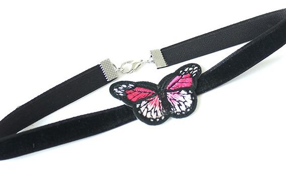 Pack Choker Collar 1.5cm Terciopelo Con Mariposa X12u